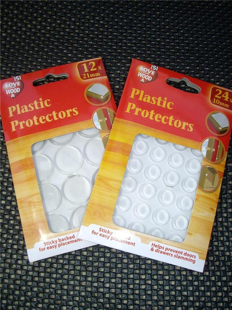Plastic protectors dots pads self adhesive cabinet buffers drawer cupboard door ebay - Drawer bumper pads ...