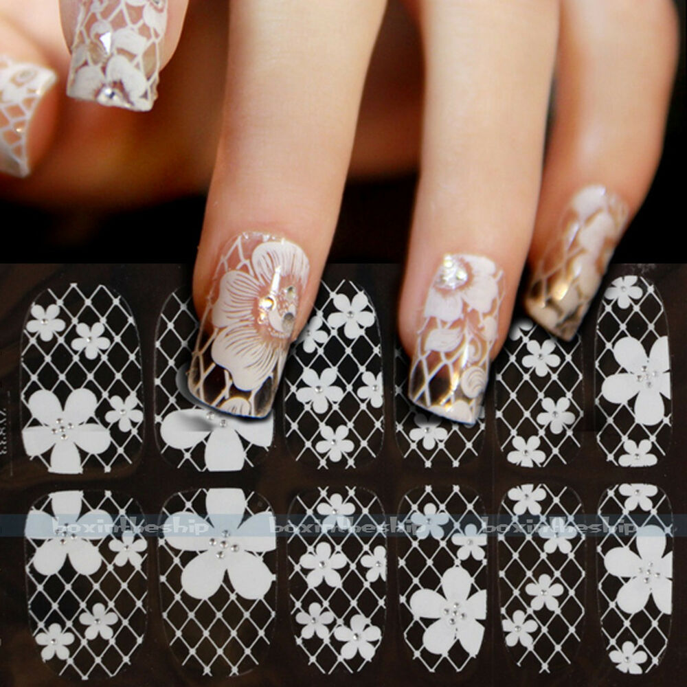 New 3D Lace Crystal Nail Art Tips Sticker Decal Full Wraps