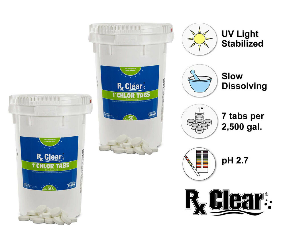 Rx Clear 1 Inch 99 Trichloro Stabilized Swimming Pool Chlorine Tablets 100 Lbs Ebay