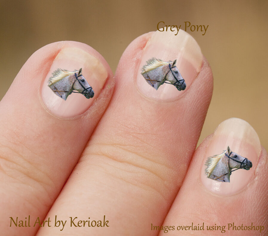 Nail Art History: Horse, Grey Profile Set Of 24 Nail Art Stickers Decals