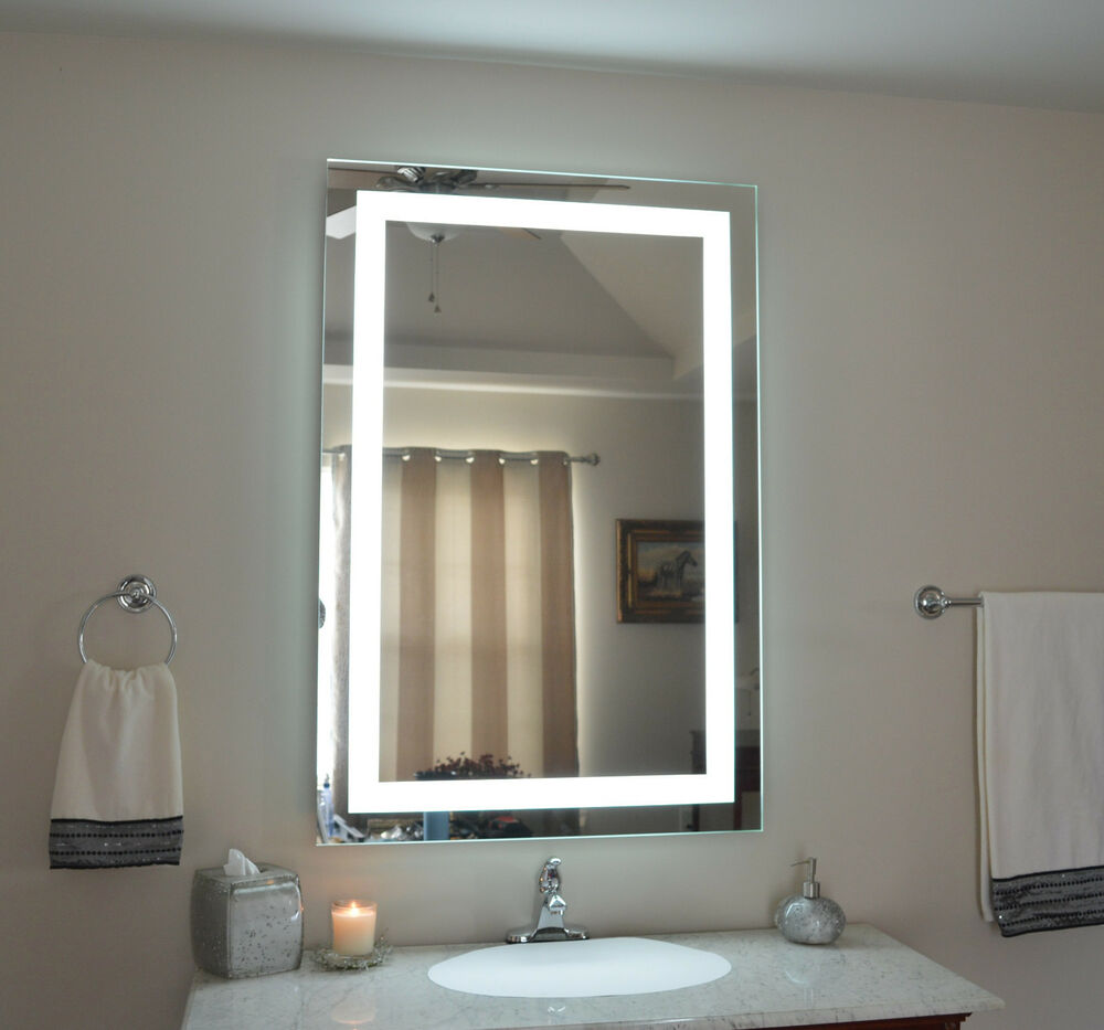 Mam83248 32 w x 48 t lighted vanity mirror wall - Bathroom vanity mirror side lights ...