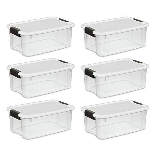 6 storage box plastic container bin organizer with lid 18 1 x 12 2 x 7 inches 692621352004 ebay. Black Bedroom Furniture Sets. Home Design Ideas