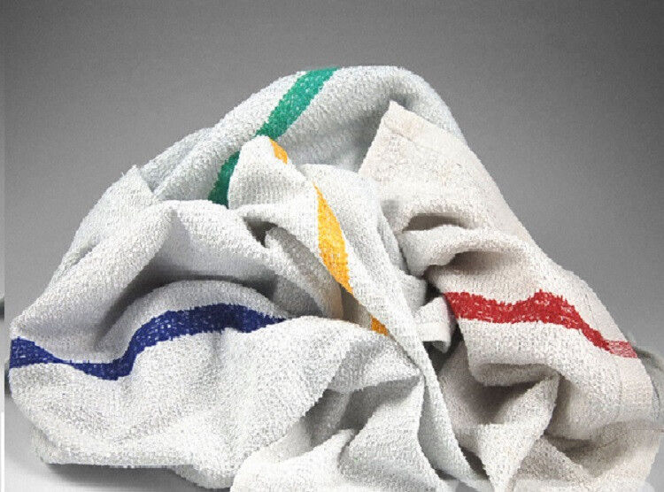 5lb Box Of Terry Striped Bar Mop Towels Wiping Rags