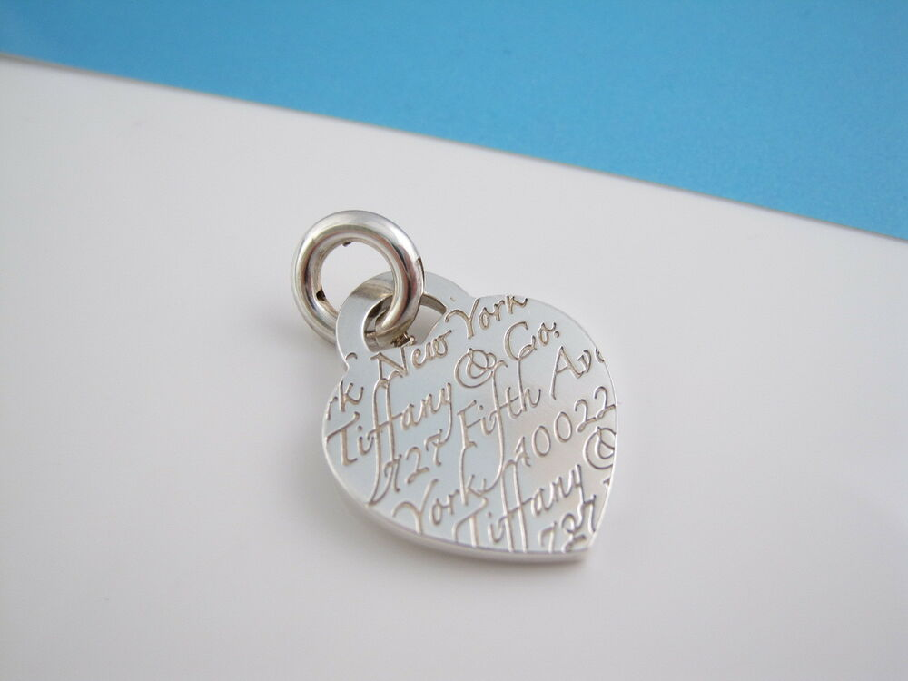 Tiffany Silver Notes Fifth Ave Clasp Heart Charm Pendant 4