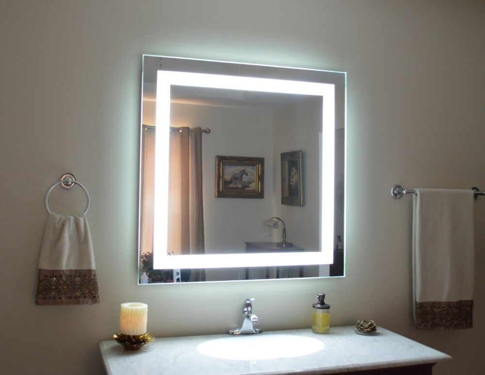 Mam84040 40 x 40 lighted vanity mirror wall mounted - Bedroom vanity mirror with lights ...