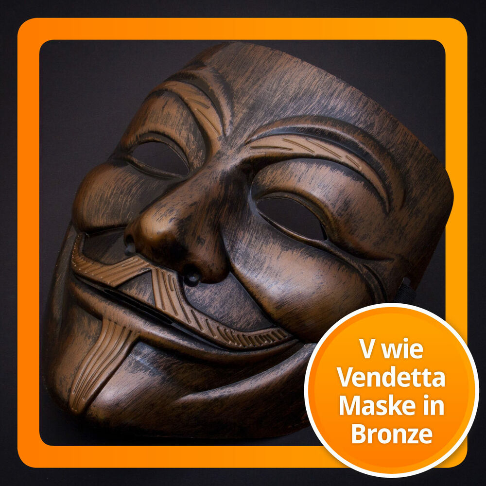 luxus bronze gold v wie for vendetta maske guy fawkes occupy anonymous mask ebay. Black Bedroom Furniture Sets. Home Design Ideas