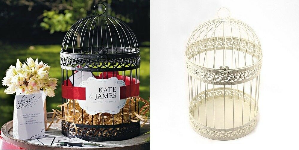 Metal Decorative Wedding Gift Card Holder Box : Decorative Birdcage Spring Wedding Wishing Well Card Holder Money Box ...