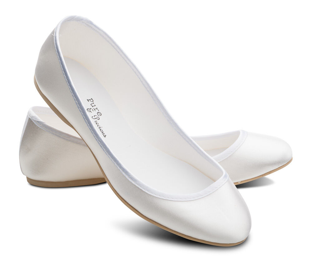 White Satin Bridesmaids Flower Girls Wedding Communion Pumps Flats Shoes  LUCY | EBay