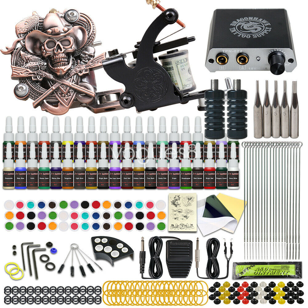 Complete tattoo kit 4 machine gun 40 color ink power for Where to get tattoo supplies