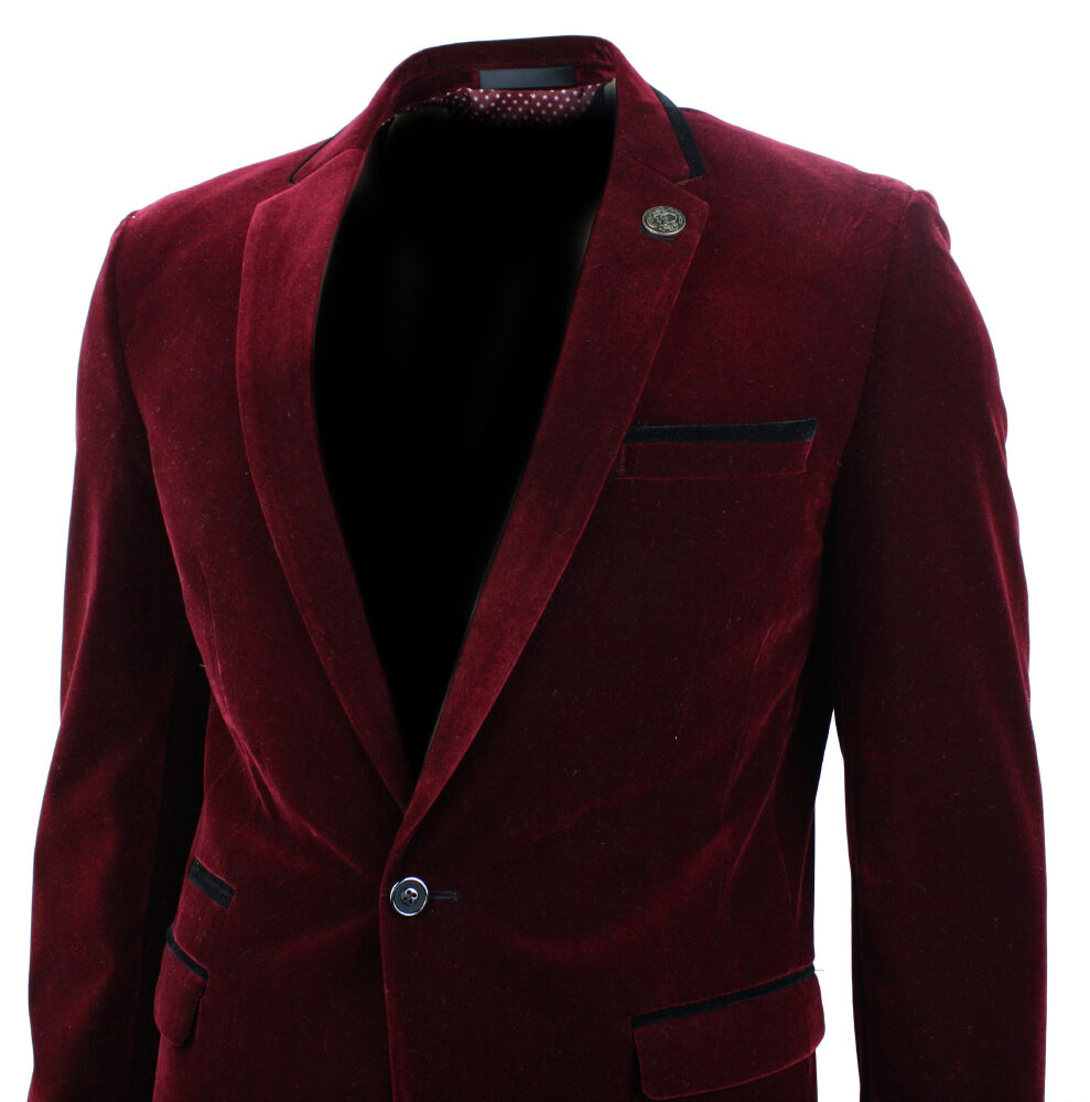 Blazers Jackets Mens: Mens Velvet Wine Maroon Burgandy Blazer Jacket Slim Fit