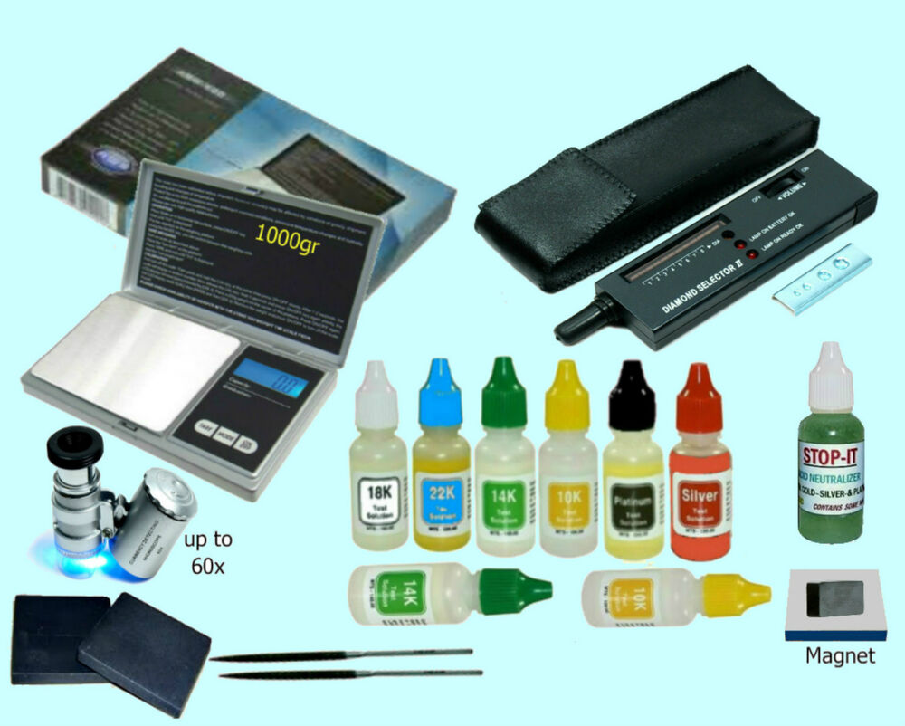 Gold And Silver Tester : Gold silver testing set electronic diamond tester aws