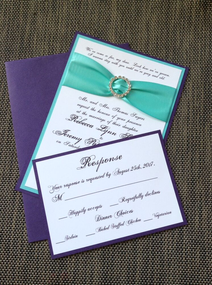 turquoise and purple layered wedding invitation