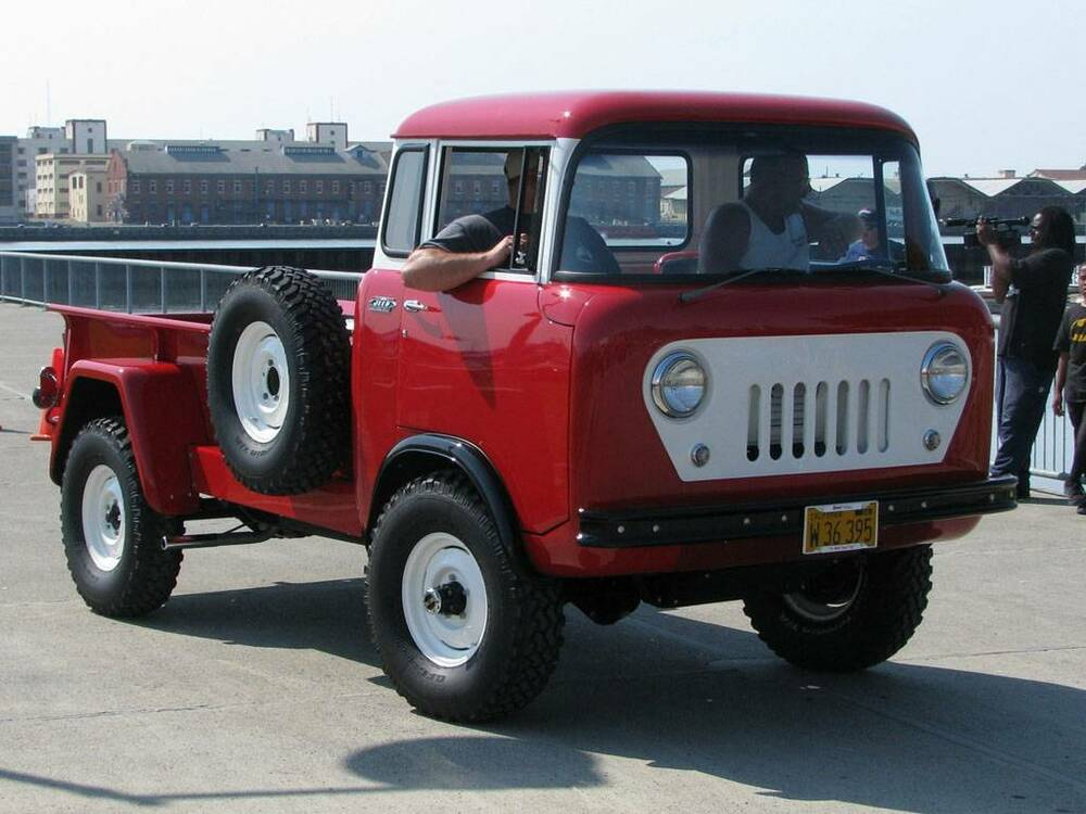 old photo red 1960 willys jeep fc 170 c o e truck ebay. Black Bedroom Furniture Sets. Home Design Ideas