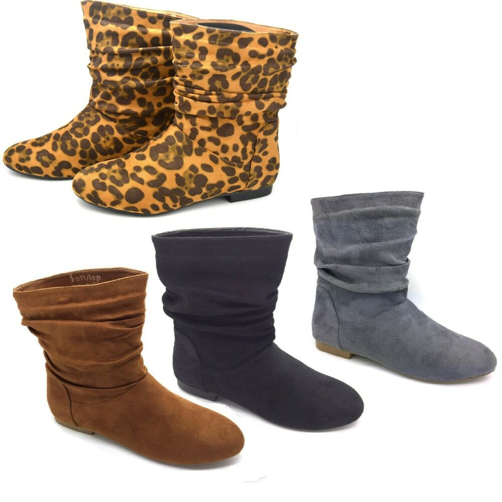 fashion ladies womens flat heel ankle boots winter shoes