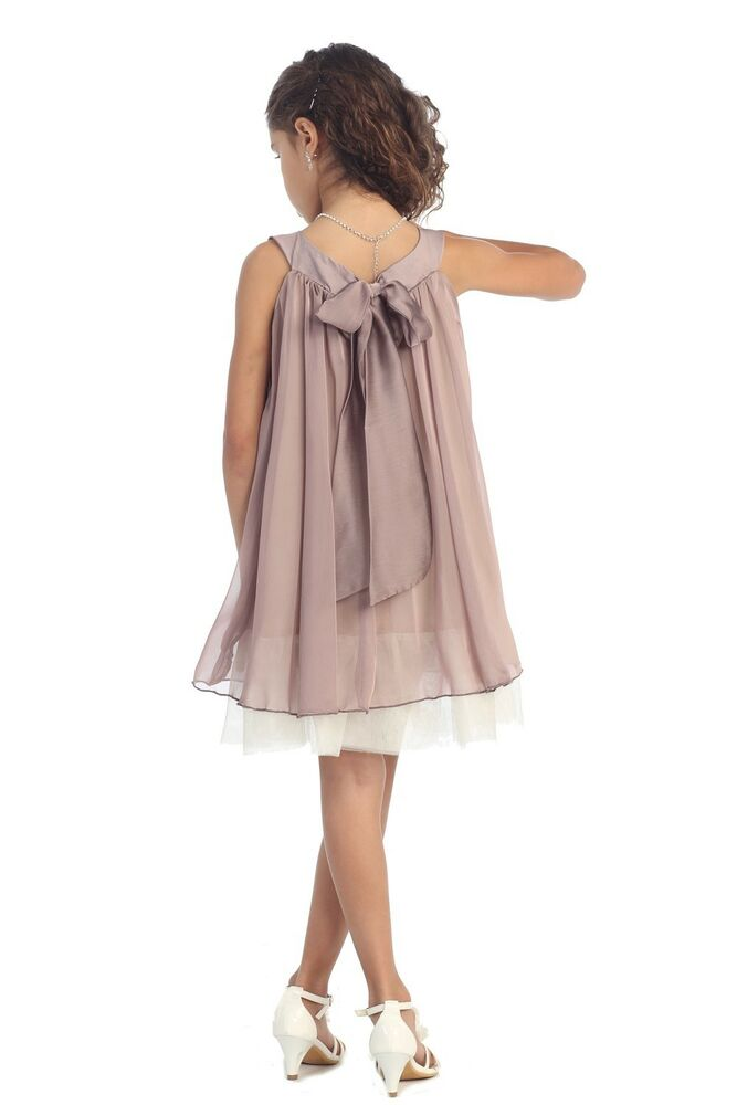 Flower girl dress silk chiffon girl dress summer beach for Casual flower girl dresses for beach wedding