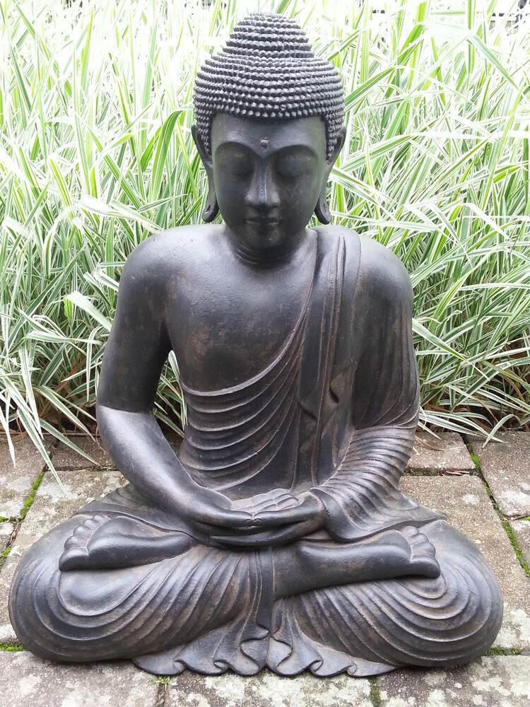 xl gro er buddha sitzend lavastein ca 60 cm figur feng shui skulptur lotus asia ebay. Black Bedroom Furniture Sets. Home Design Ideas