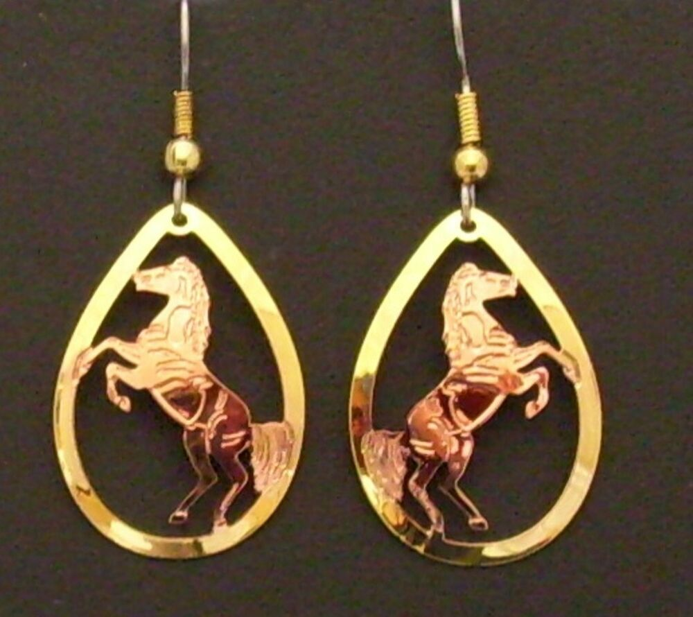 Hand Made Copper And Gold Western Style Rearing Horse Teardrop Dangle Earrings Ebay