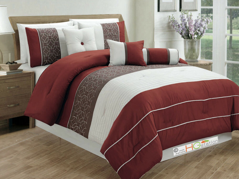 7 Pc Pleated Striped Embroidered Medallion Comforter Set