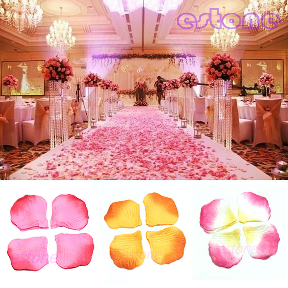 500pcs rose flower petals leaves wedding party table for Wedding party decorations
