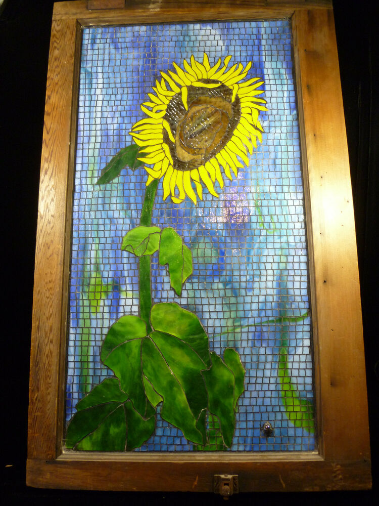 Beautiful Mosaic Stained Glass Picture Sunflower By