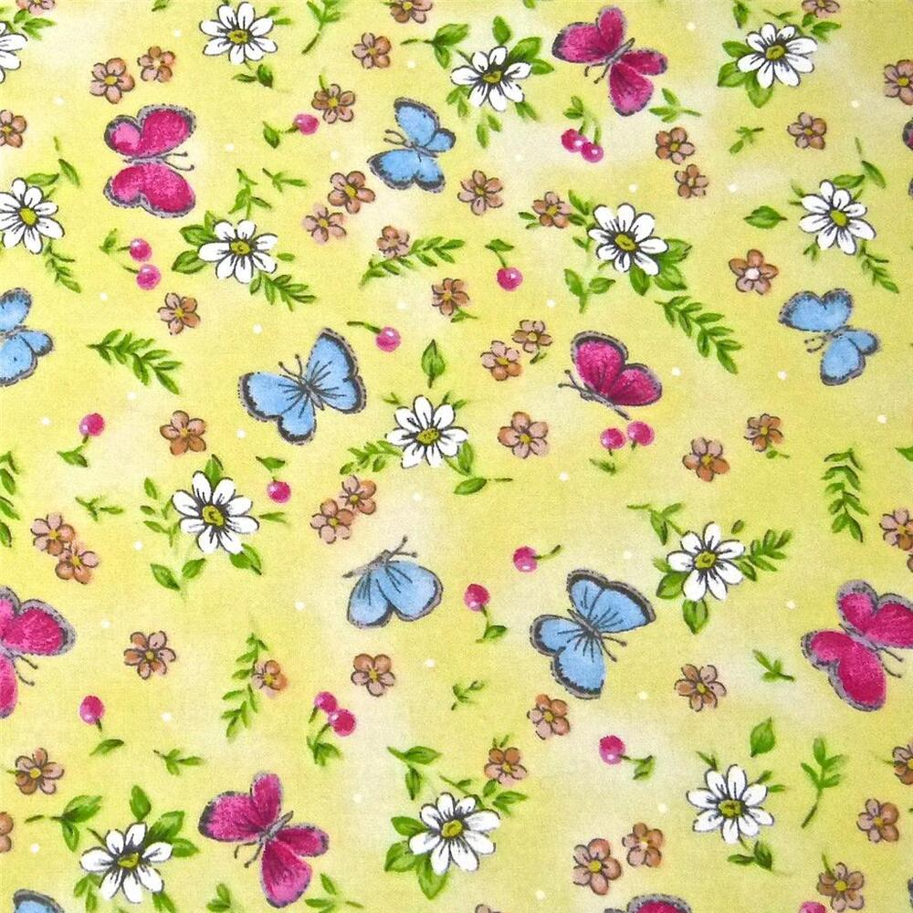 Fabric Traditions Cotton Per Yard Pink Amp Blue Butterflies