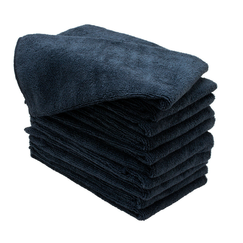 6 BLACK MICROFIBER TOWELS CLEANING CLOTHS BULK 16X27 HAND