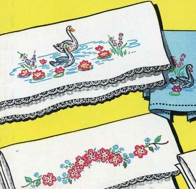 Guest Towels Ebay: Hand Embroidery Transfer 641 Swans Flowers Blossoms For