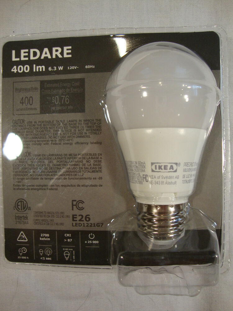 ikea ledare 400 lm 6 3 w 120v 60 hz e26 light bulb 40 watt led1221g7 led new ebay. Black Bedroom Furniture Sets. Home Design Ideas