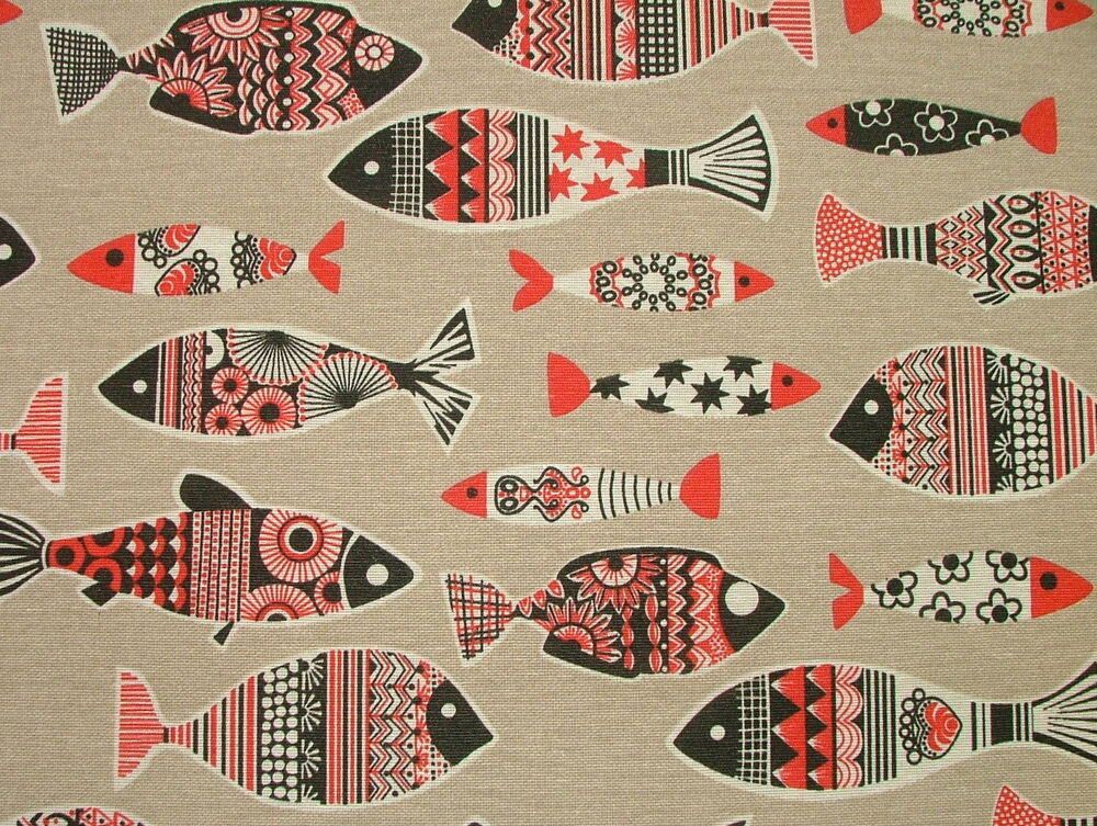 Scandinavian fish natural linen look curtain upholstery for Fish fabric for quilting