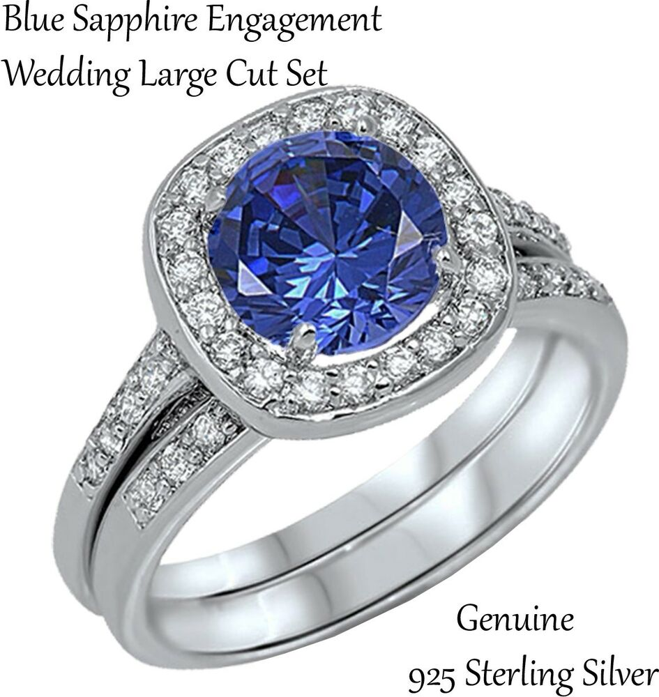 Blue sapphire brilliant engagement wedding sterling silver for Blue sapphire wedding ring set