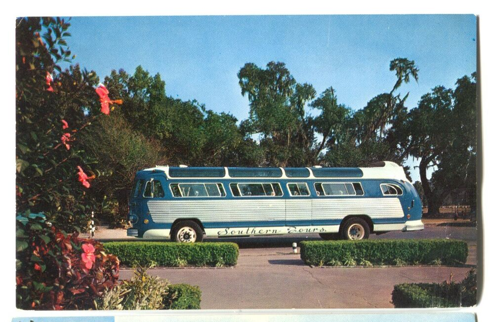 vintage chrome southern tours bus new orleans louisiana postcard ebay. Black Bedroom Furniture Sets. Home Design Ideas