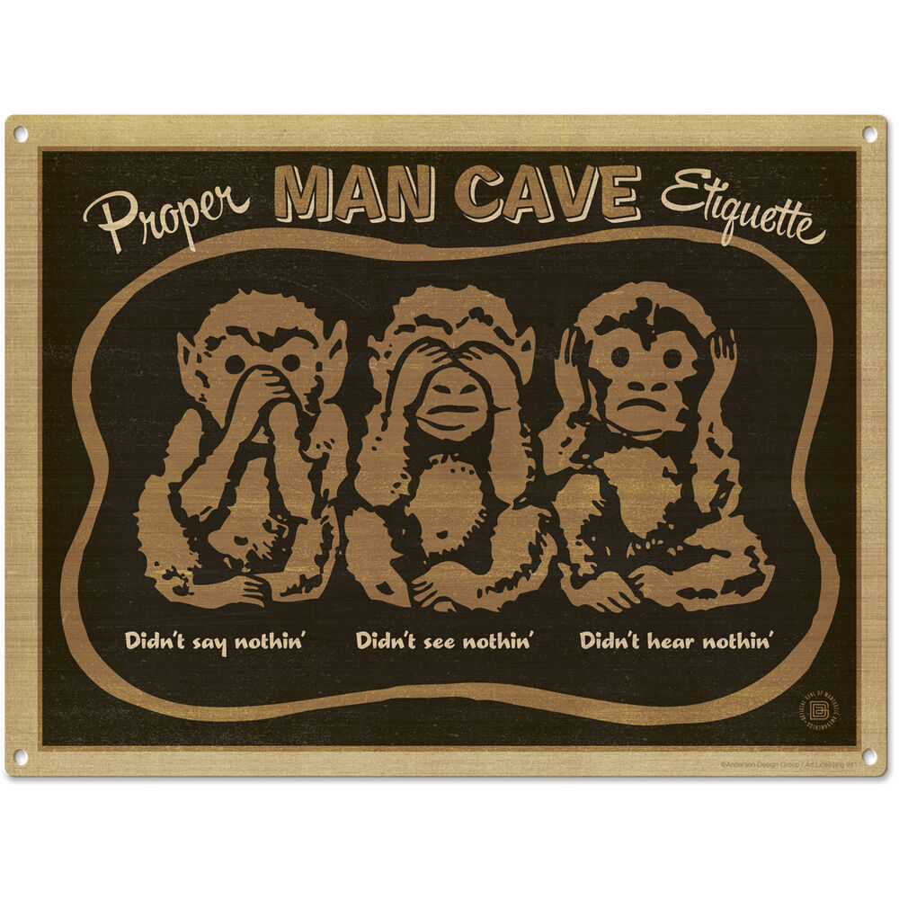 Man Cave Vintage Signs : Man cave three wise monkeys metal sign home bar decor