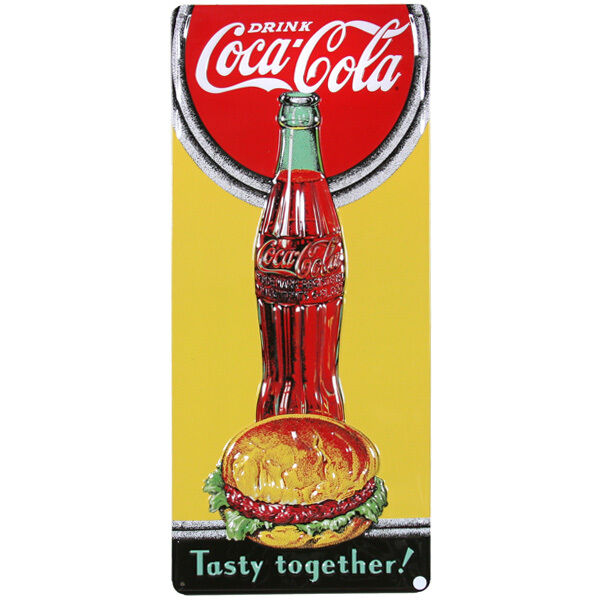 Coca-Cola And Burger Metal Sign Embossed Tin Vintage Coke