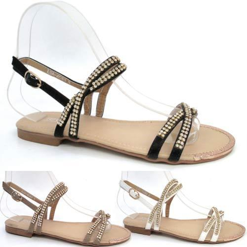 Ladies wedding sandals new fancy flat summer dress bridal for Flat dress sandals for weddings