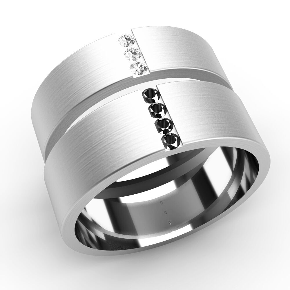 His And Hers Wedding Rings Diamond Set Bands White Gold