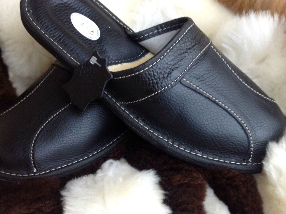 New Mens Leather Slippers Black Shoes Size 7 8 9 10 11 12 13 14 Luxury Flip Flop Ebay
