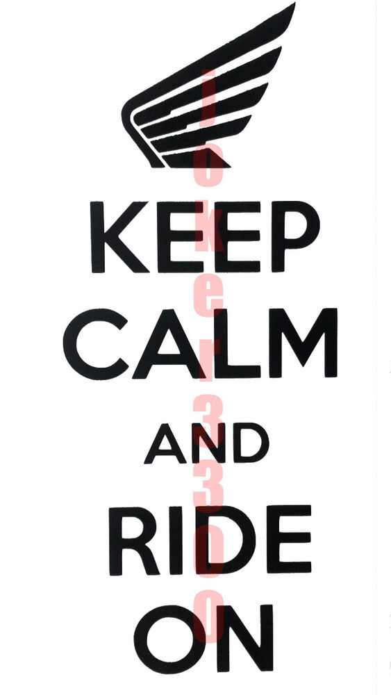 Honda Decal Keep Calm And Ride On Vinyl Window Sticker
