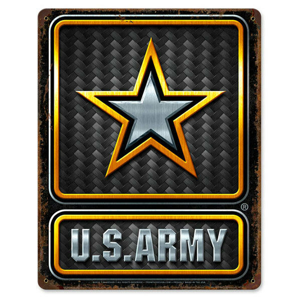 Military Man Cave Signs : Us army carbon fiber star logo metal sign military man