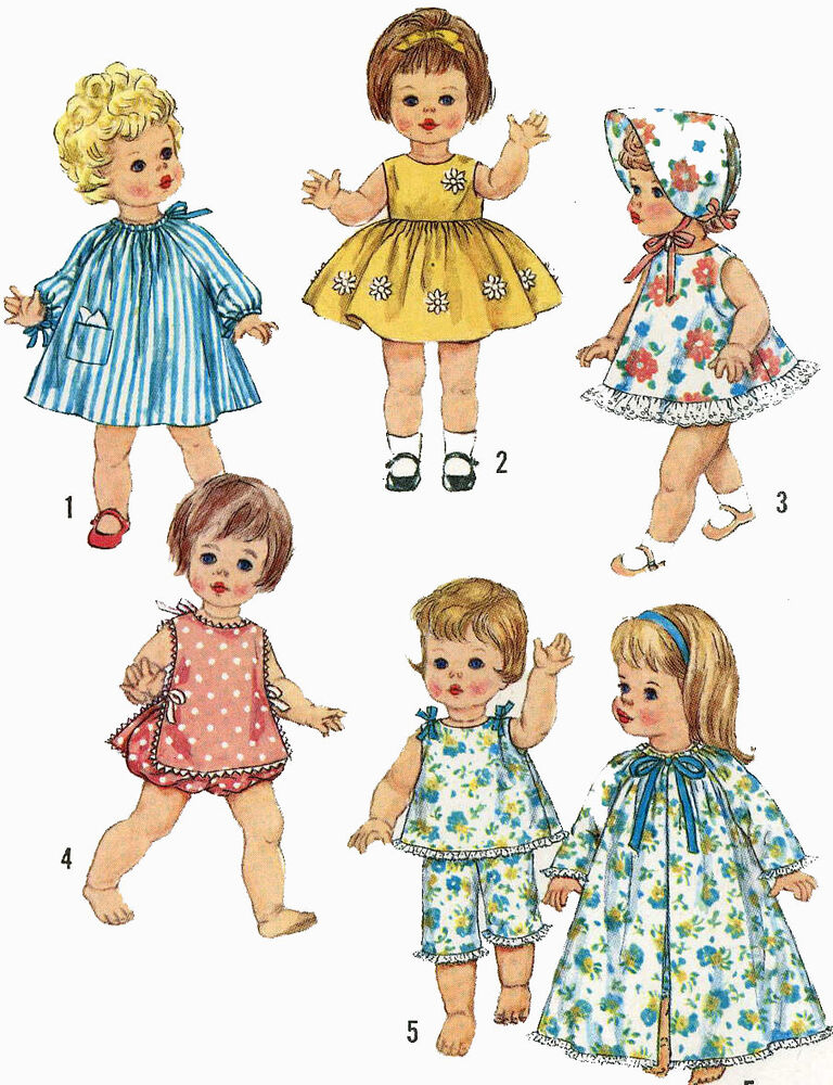 Vintage Doll Clothes Pattern 4839 For 18 In Chatty Baby
