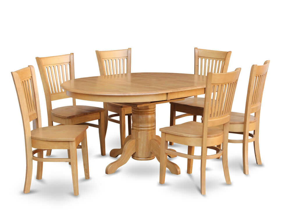 7 pc oval dinette kitchen dining room set table w 6 wood seat chairs light oak ebay. Black Bedroom Furniture Sets. Home Design Ideas