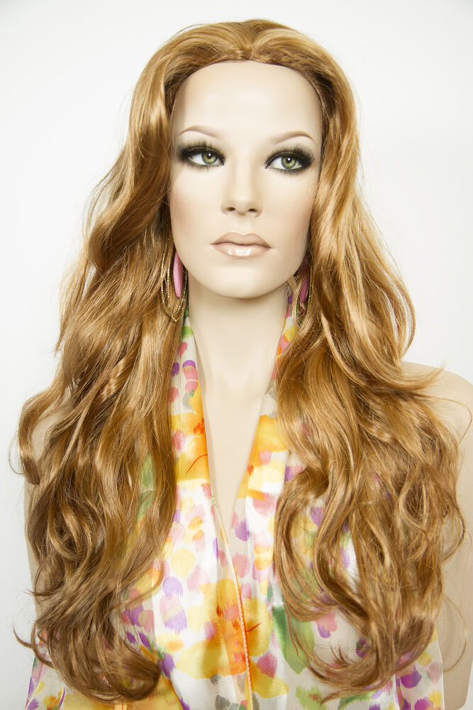 Strawberry Blonde Red Long Skin Top Wavy Straight Wigs Ebay