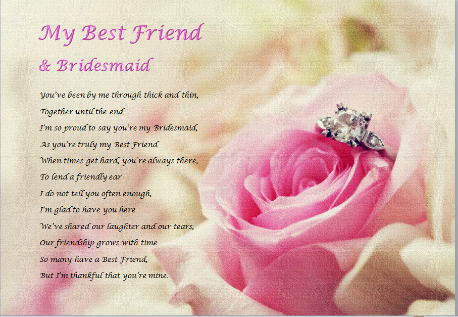 Gift For Best Friend On Wedding Day: Laminated Poem (personalised