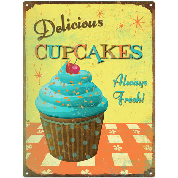 Delicious Cupcakes Metal Sign Kitchen Vintage Diner Bakery Wall Decor 12 X 16 Ebay