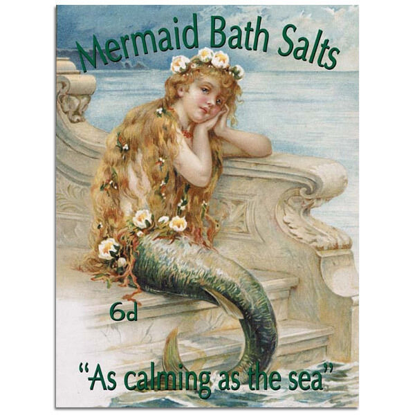 Mermaid bath salts reproduction metal sign vintage style for Mermaid bathroom decor vintage
