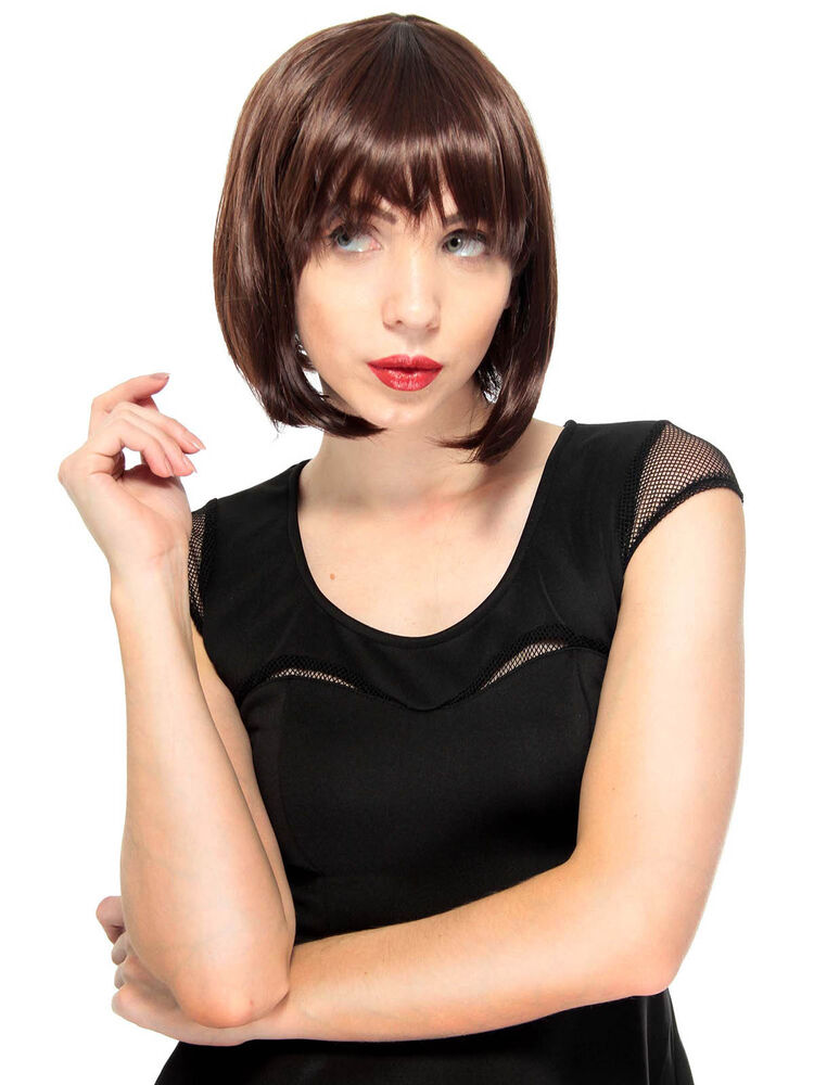 Women S Vintage Style Straight Wig With Straight Bangs