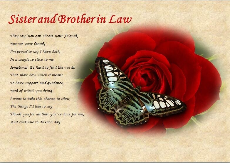 SISTER & BROTHER IN LAW personalised poem (Laminated Gift) eBay