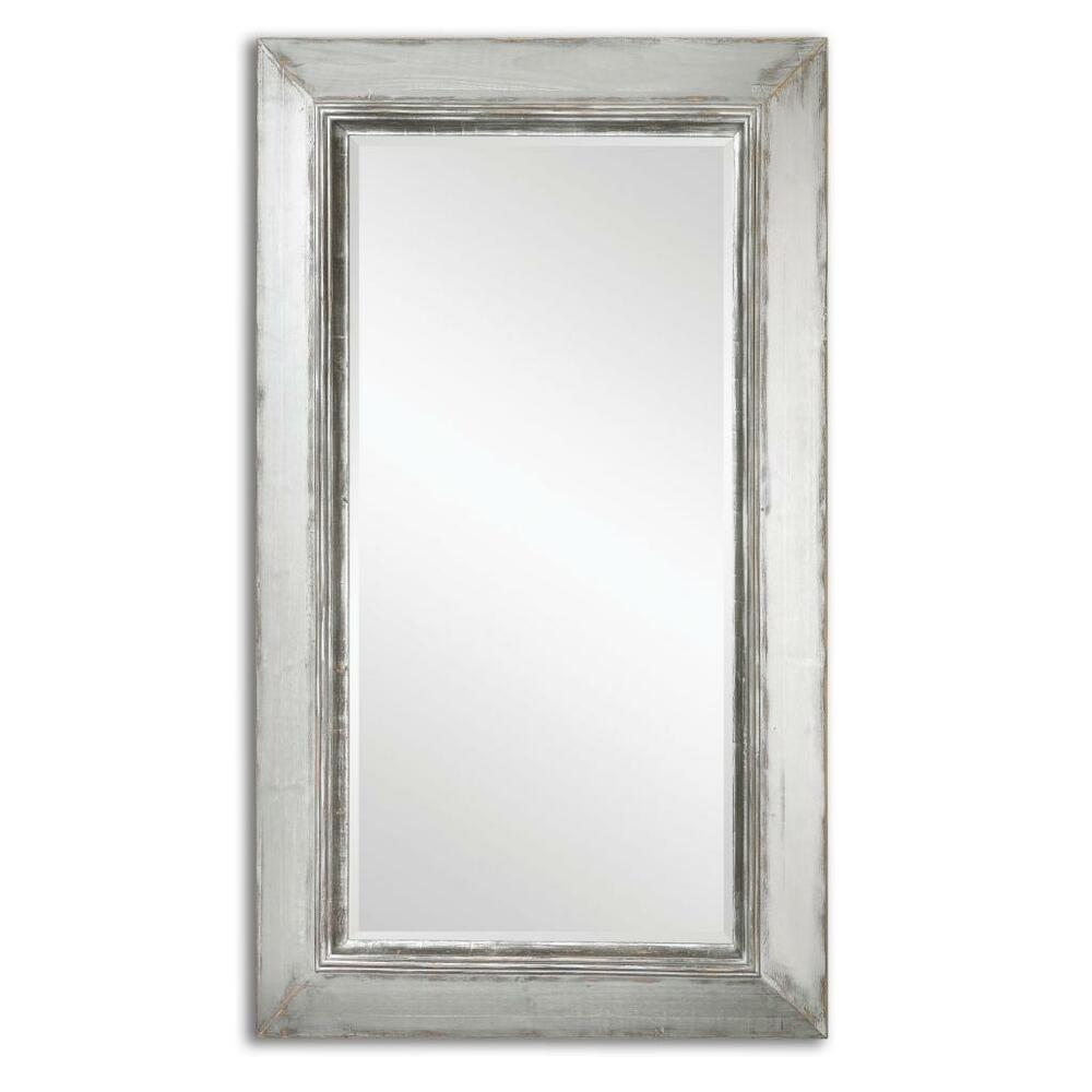 Gorgeous 74 distressed silver wall mirror floor leaner for Decorative full length wall mirrors