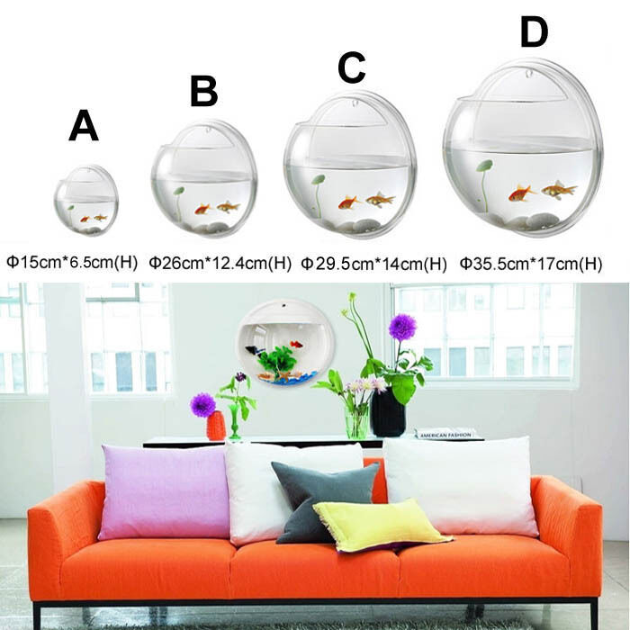 Creative Goldfish Acrylic Wall Mounted Fish Bowl Tank