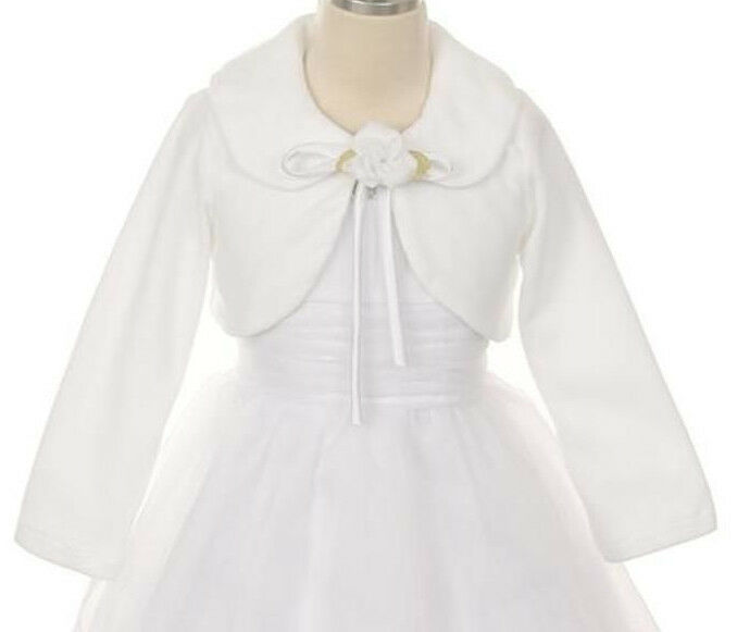 Girls party dress flower girl wedding - Girls White Fleece Bolero Jacket Long Sleeve Fancy For Dresses Wedding