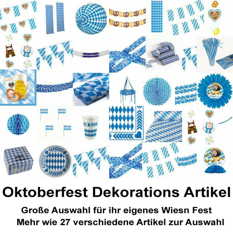 oktoberfest deko artikel bayern wiesn festartikel bavaria blau weiss ebay. Black Bedroom Furniture Sets. Home Design Ideas